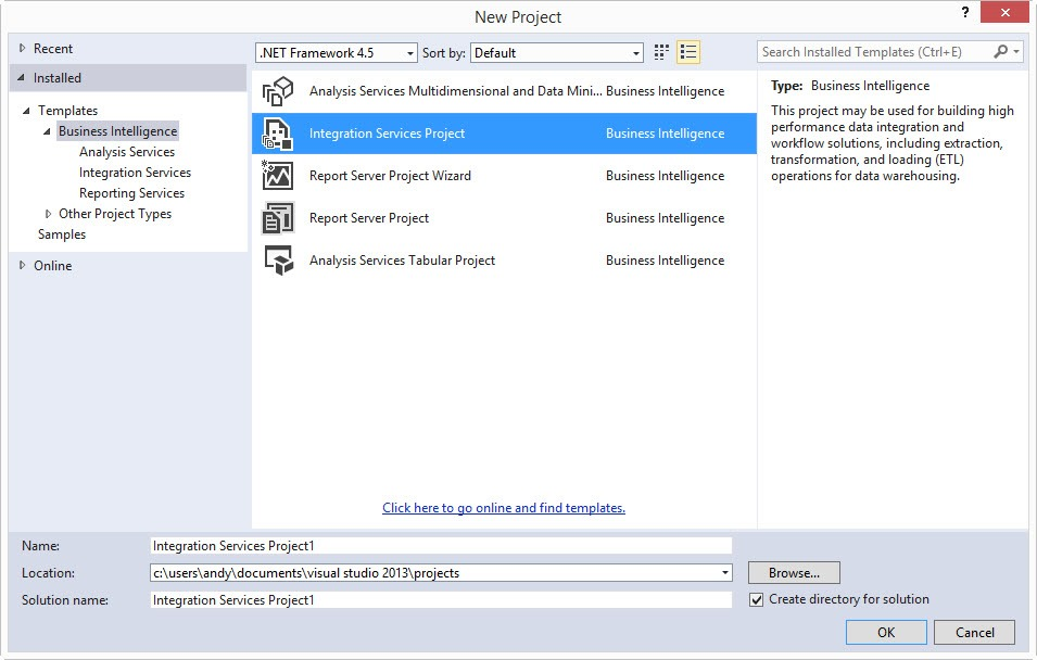 Getting started with ssis ssdt bi andyleonard click to enlarge the image and you will see several project templates listed beneath the business intelligence virtual folder for ssis development select maxwellsz