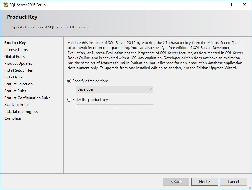 Installing SQL Server 2016 Developer Edition, One Example