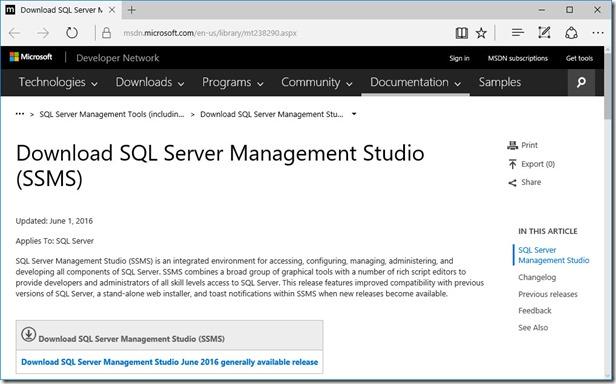 Installing SQL Server 2016 Developer Edition, One Example