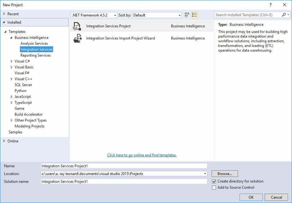 how to create ssis package in visual studio 2017